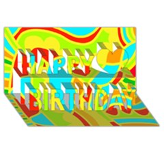 Colorful decor Happy Birthday 3D Greeting Card (8x4)