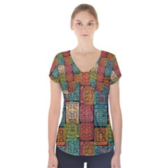 Stract Decorative Ethnic Seamless Pattern Aztec Ornament Tribal Art Lace Folk Geometric Background C Short Sleeve Front Detail Top