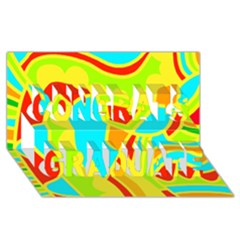 Colorful decor Congrats Graduate 3D Greeting Card (8x4)