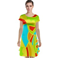 Colorful decor Cap Sleeve Nightdress