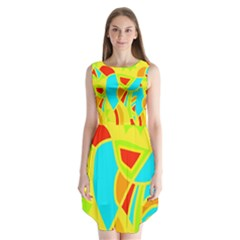 Colorful decor Sleeveless Chiffon Dress