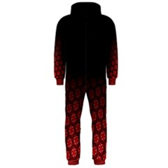 Ombre Black And Red Passion Floral Pattern Hooded Jumpsuit (men)