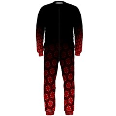 Ombre Black And Red Passion Floral Pattern Onepiece Jumpsuit (men)
