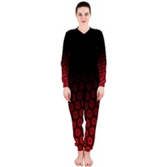Ombre Black And Red Passion Floral Pattern Onepiece Jumpsuit (ladies)