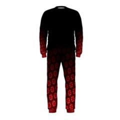 Ombre Black And Red Passion Floral Pattern Onepiece Jumpsuit (kids)