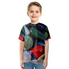 Stones Colors Pattern Pebbles Macro Rocks Kids  Sport Mesh Tee