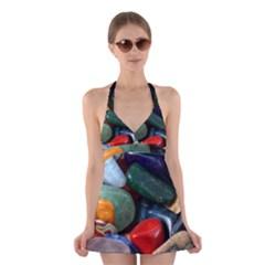 Stones Colors Pattern Pebbles Macro Rocks Halter Swimsuit Dress