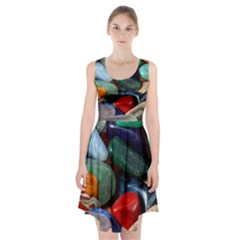 Stones Colors Pattern Pebbles Macro Rocks Racerback Midi Dress