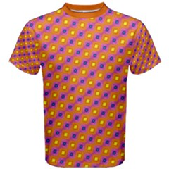 Vibrant Retro Diamond Pattern Men s Cotton Tee
