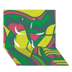 Green abstract decor Clover 3D Greeting Card (7x5)