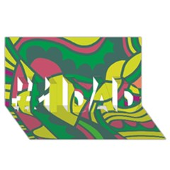 Green abstract decor #1 DAD 3D Greeting Card (8x4)