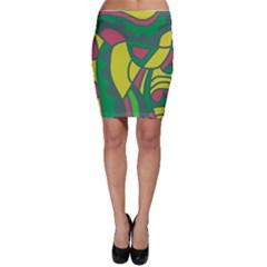 Green abstract decor Bodycon Skirt