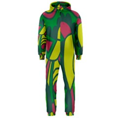 Green abstract decor Hooded Jumpsuit (Men)