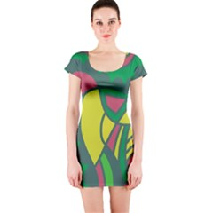 Green abstract decor Short Sleeve Bodycon Dress