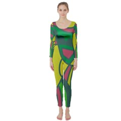 Green abstract decor Long Sleeve Catsuit