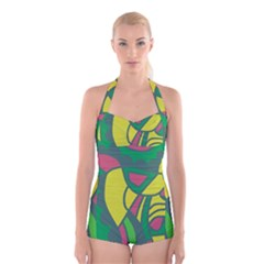 Green abstract decor Boyleg Halter Swimsuit