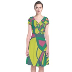 Green abstract decor Short Sleeve Front Wrap Dress
