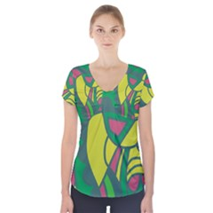 Green abstract decor Short Sleeve Front Detail Top