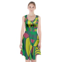 Green abstract decor Racerback Midi Dress