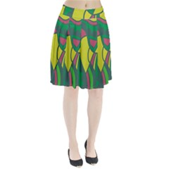 Green abstract decor Pleated Skirt