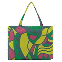 Green abstract decor Medium Zipper Tote Bag