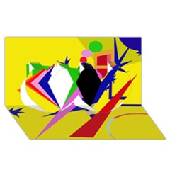 Yellow abstraction Twin Hearts 3D Greeting Card (8x4)