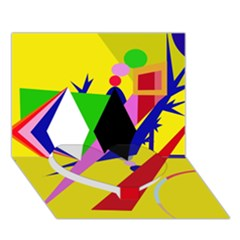 Yellow abstraction Heart Bottom 3D Greeting Card (7x5)