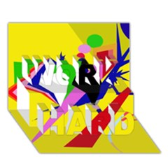 Yellow abstraction WORK HARD 3D Greeting Card (7x5)