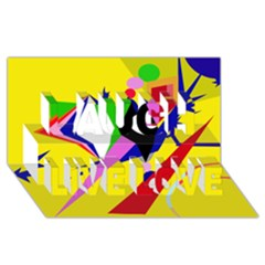 Yellow abstraction Laugh Live Love 3D Greeting Card (8x4)