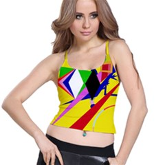 Yellow abstraction Spaghetti Strap Bra Top