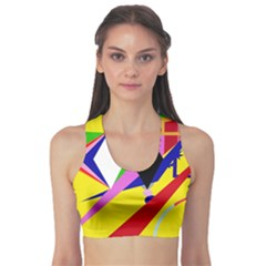 Yellow abstraction Sports Bra