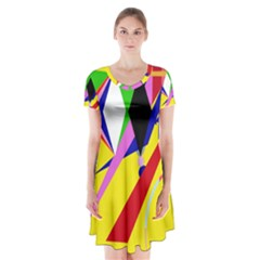 Yellow abstraction Short Sleeve V-neck Flare Dress