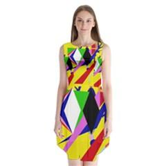 Yellow Abstraction Sleeveless Chiffon Dress