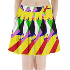 Yellow abstraction Pleated Mini Skirt