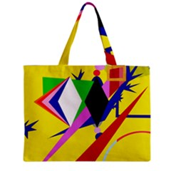 Yellow abstraction Medium Zipper Tote Bag