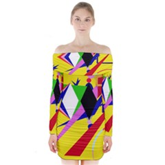 Yellow abstraction Long Sleeve Off Shoulder Dress