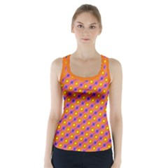 Vibrant Retro Diamond Pattern Racer Back Sports Top