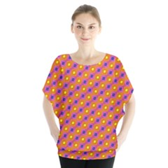 Vibrant Retro Diamond Pattern Batwing Chiffon Blouse