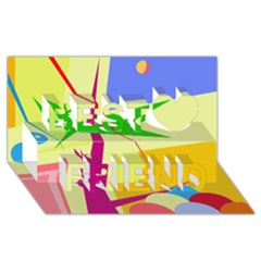 Colorful abstract art Best Friends 3D Greeting Card (8x4)