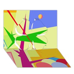 Colorful abstract art Clover 3D Greeting Card (7x5)