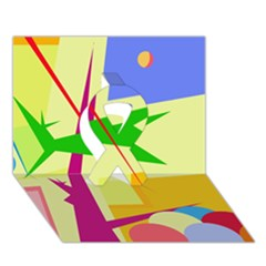 Colorful abstract art Ribbon 3D Greeting Card (7x5)