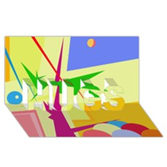 Colorful abstract art HUGS 3D Greeting Card (8x4)