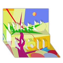 Colorful Abstract Art Miss You 3d Greeting Card (7x5)