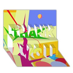 Colorful abstract art THANK YOU 3D Greeting Card (7x5)