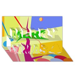 Colorful abstract art Merry Xmas 3D Greeting Card (8x4)