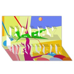 Colorful abstract art Happy New Year 3D Greeting Card (8x4)