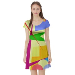 Colorful abstract art Short Sleeve Skater Dress