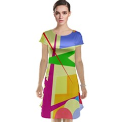 Colorful abstract art Cap Sleeve Nightdress