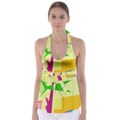 Colorful abstract art Babydoll Tankini Top