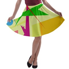 Colorful abstract art A-line Skater Skirt
